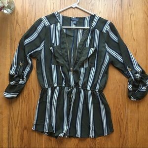 Olive Stripe Blouse with Zipper